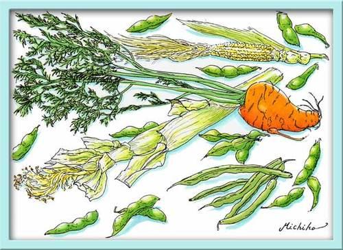 夏・緑の野菜を描く