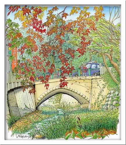 紅葉と高尾橋