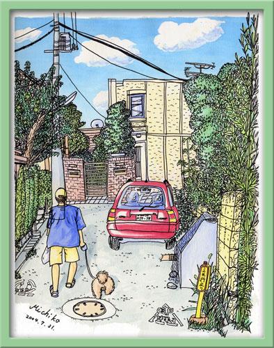 ご近所の夏 赤い車