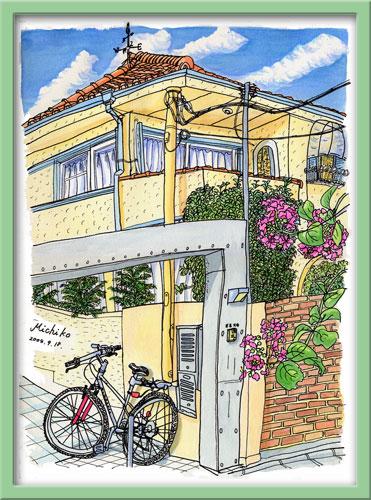 ご近所の夏 赤い自転車