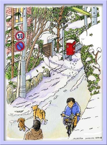 ご近所の冬-赤いポスト