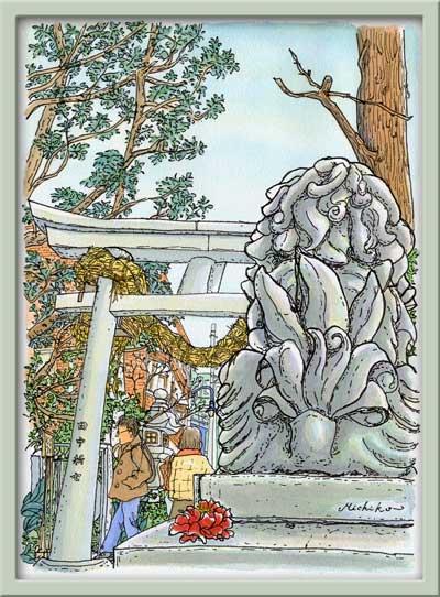 奥沢神社の狛犬のシッポ